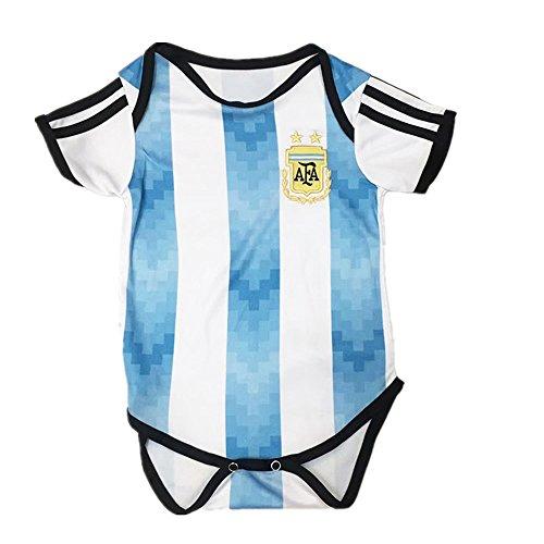 夏 ベビー服 半袖ロンパース サッカー ワールドカップ 2018 アルゼンチン代表 ホーム レプリカ ベビーフォーマル半袖 新生児 女児 おもしろ ロンパース アルゼンチン、80cm