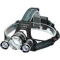 LEDヘッドライト SGODDE 超高輝度 10000ルーメン 充電式 防水仕様 18650电池 充電器付属 3灯式 4段階の点灯モード 登山 夜釣り アウトドア作業 SOSフラッシュ機能
