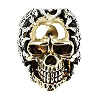 ジナブリング (JINA BRING) ド迫力 金のリアル頭蓋骨リング ゴールドスカルリング 薔薇 ローズ 棘 ジルコニア スカル レディースリング#21 シルバー925
