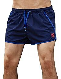 マルチサイズ クールイージングメンズスイミングトランクス 快適なサマースポーツパンツ (色 : 紺, サイズ : M)