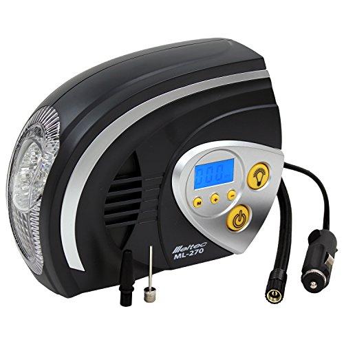 メルテック エアーコンプレッサー(自動車/バイク/ボール) 最高圧力:825kPa DC12V(ソケット) オートストップ機能・デジタル表示・LEDライト付 Meltec ML-270