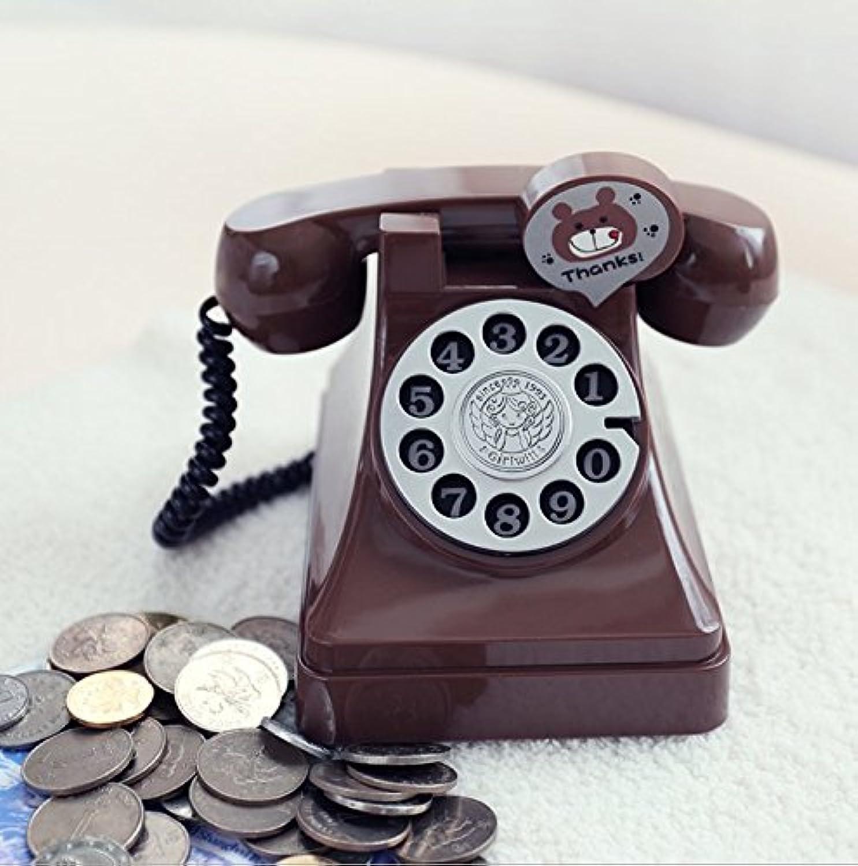 マネー バンク プラスチックレトロ電話ピギーバンククリエイティブチャイルドギフト学生コインマネーバンク(コーヒー)