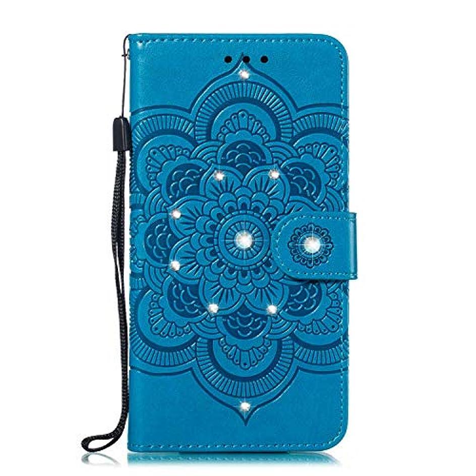 短命バラ色追放するOMATENTI Xiaomi MI 6X ケース 手帳型 かわいい レディース用 合皮PUレザー 財布型 保護ケース ザー カード収納 スタンド 機能 マグネット 人気 高品質 ダイヤモンドの輝き マンダラのエンボス加工 ケース, 青