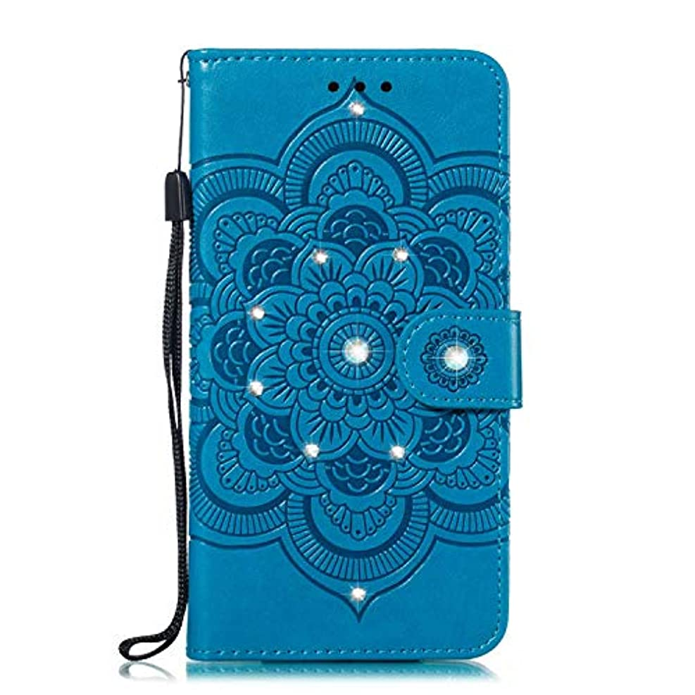 ノベルティ兵隊暖炉OMATENTI Xiaomi MI 6X ケース 手帳型 かわいい レディース用 合皮PUレザー 財布型 保護ケース ザー カード収納 スタンド 機能 マグネット 人気 高品質 ダイヤモンドの輝き マンダラのエンボス加工 ケース, 青