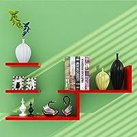家庭用スーパースペースラック 壁掛け木製L字型フローティング収納棚モダンミニマリスト装飾本棚棚 (Color : 7)