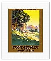 フォンロムーオデイヨヴィア - フランスの鉄道会社 - 標高1800 M - 気候駅 - ビンテージな世界旅行のポスター によって作成された E・ポール・シャンプセックス c.1930 - キャンバスアート - 28cm x 36cm キャンバスアート(ロール)