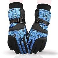 グローブMsサイクリングスキー冬暖かい防風性と防水性コールドプロテクション (色 : 青)