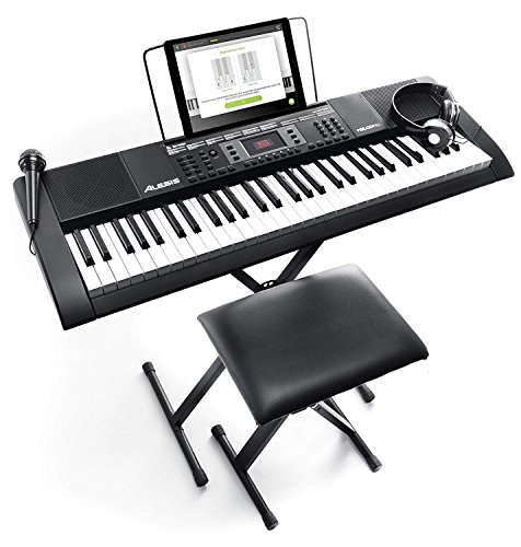 Alesis 電子キーボード 61鍵盤 初心者セット【ヘッドホン、マイク、スタンド、ベンチ、ACアダプター付き】 Melody61 MKII
