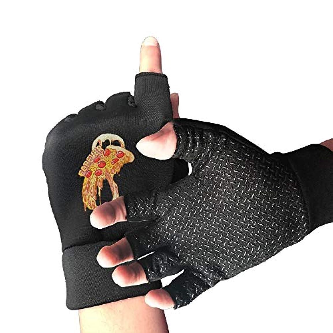 瞑想的ターミナルママCycling Gloves Forever Pizza Men's/Women's Mountain Bike Gloves Half Finger Anti-Slip Motorcycle Gloves