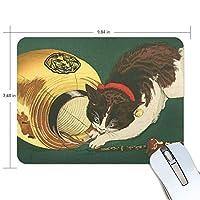 マウスパッド ゲーミング オフィス 小林清親「猫と提灯」 防水 滑り止めゴム底 耐久性が良い 高級感 おしゃれ 疲労低減 自由な操作できる 厚い 25x19x0.5 cm