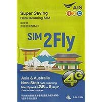 [A.I.S] SIM2Fly 4GB 8日間 17カ国データ通信SIMカード 日本 韓国 台湾 香港 シンガポール マカオ マレーシア フィリピン インド カンボジア ラオス ミャンマー オーストラリア ネパール インドネシア スリランカ カタール[並行輸入品]