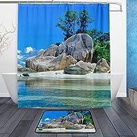 AdaCrazy 自然現代家の装飾背景パターンシャワーカーテン3dプリント防水コートポリエステル生地浴室12フック付き71インチ屋内フロアマット風呂絨毯60×40 cm