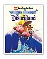 ディズニーランドへの魔法の休日 - ウェスタン航空 - ダンボザフライングエレファント - ビンテージな航空会社のポスター c.1970s - アートポスター - 41cm x 51cm