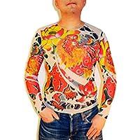 【EDEN】唐獅子 和彫り タトゥー ロングTシャツ 刺青 入れ墨シャツ ロンT [E73]