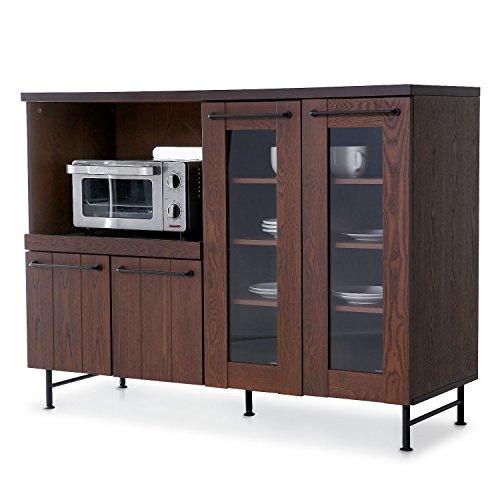 レンジ台 キッチン収納 木製 天然木 タモ材 スチール スライド棚 可動棚 コンセント付 キャビネット 幅119cm ブラウン