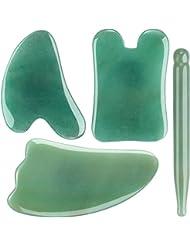 4点セット4pcsFace / Body Massage Natural Jade Gua Sha Boardかっさプレート 天然石 翡翠(顔?ボディのリンパマッサージ)