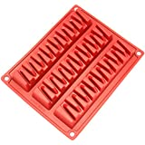 Freshware CB-800RD 3-Cavity Zig Zag Silicone Mold for Making Break-Apart Chocolate, Protein, or Energy Bites and More