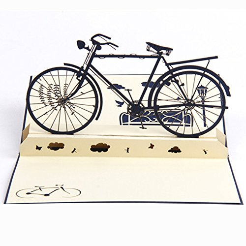 3dポップアップグリーティングカード封筒付きバイク自転車