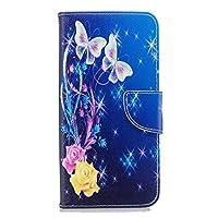 OMATENTI Galaxy J6 Plus 2018 ケース カード収納 おしゃれ 高級感 手帳型ケース 衝撃吸収 落下防止 防塵 人気 花柄カバー, マグネット開閉式 プロテクター Galaxy J6 Plus 2018 対応, 青い蝶-1