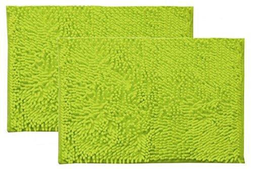 イケヒコ バスマット 浴室足拭きマット 洗える 吸水 速乾 無地 『クリア』 グリーン 2枚組 約35×50cm ♯3440750