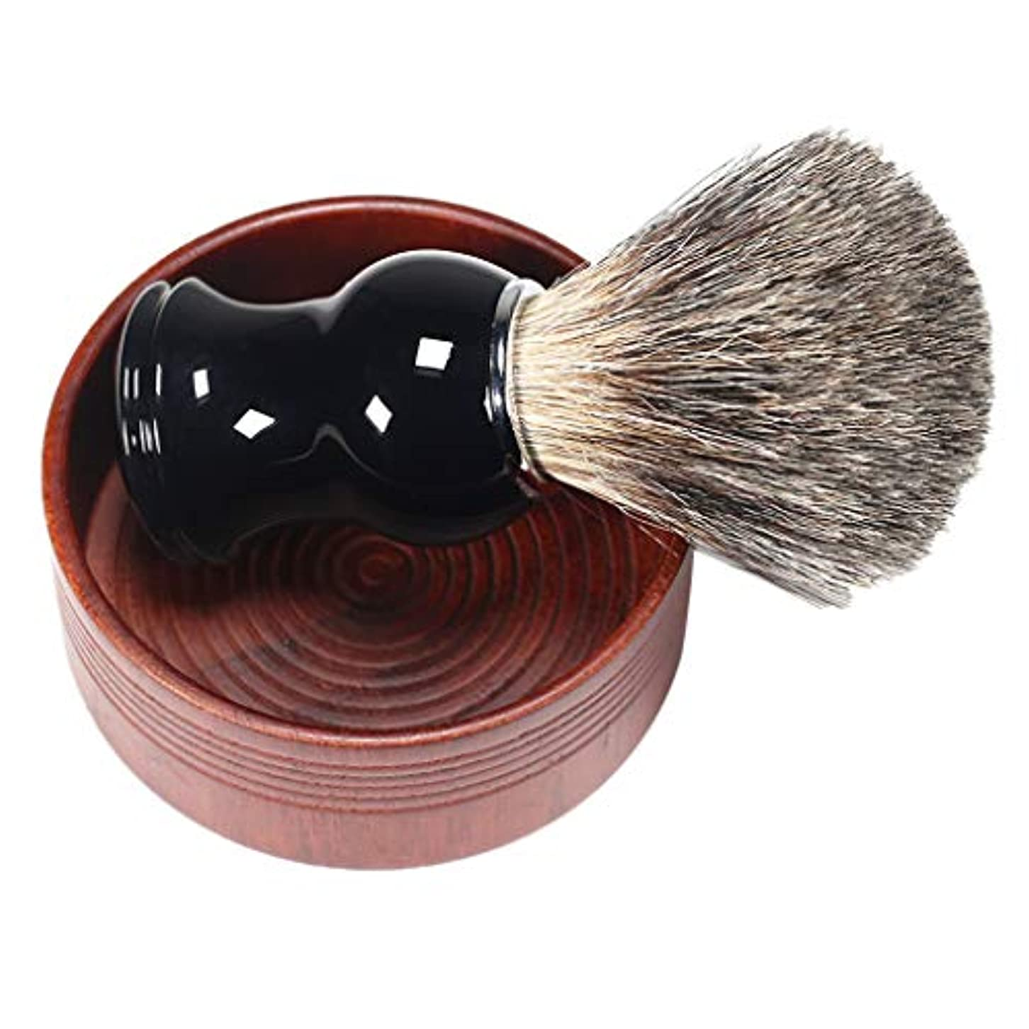 摂氏度砂の不規則性毛髭剃りグルーミング シェービングブラシ ウッドボウル 男性 3色選べ - ブラック01