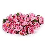 ノーブランド品 約50pcs 美しい 人工 ローズ  バラ  造花  花部分のみ  花びら  花ヘッド  結婚式  3cm DIY装飾  4色選べる - ピンク