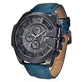 腕時計 TangQI 腕時計 レザーバンド  日付 アナログ表示 クォーツ腕時計 メンズ 腕時計 防水 軍事 スポーツ メンズ 腕時計  (ブルー)