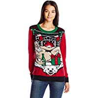 Christmas Ugly Sweater Co Womens SWP6-5190BAMZ Light-up Santa on Polar Bear Rug Long Sleeve Pullover Sweater - red