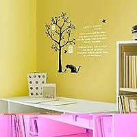 ケイ・ララ ウォールステッカー 木 [猫と鳥かご] おしゃれ 壁紙シール ウォールシール はがせる DIY 壁紙 シール