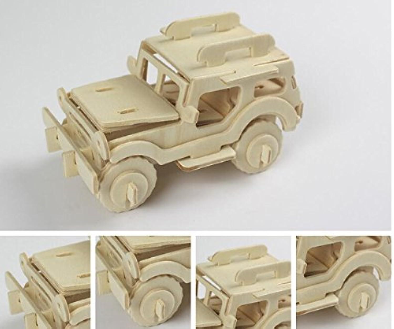 HuaQingPiJu-JP 創造的な木製の3Dパズルアーリーラーニングの形状透明なツール子供のためのおもちゃのファンタスティックギフト(ジープ)