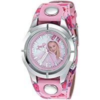 Jojo Siwa Kids' Analog Watch with Silver-Tone Case, Pink Leather Strap, Easy to Buckle - Kids' Watch with JoJo Siwa on the Dial, Safe for Children - Model: JOJ5003