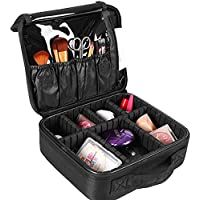SlowTon Makeup Travel Case Train Cosmetic Bag Organizer Portable with Portable for Makeup Brush Nail Beauty tools Black