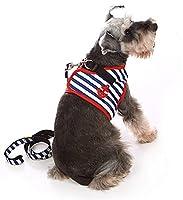 Doogy Sunshine 小型犬 ハーネス 犬用 リード セット 縞模様の 可愛い 猫用 ハーネス ペット 散歩 犬用 胴輪 通気性 調節可能 安全 ペット用品 ブラック XXL