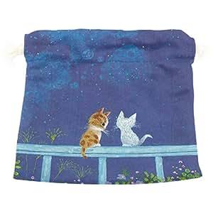 AOMOKI 収納袋 雑貨 小物入れに プレゼント ギフトバッグ 巾着ポーチ 贈り物袋 整理袋 20*32cm 旅行用 猫
