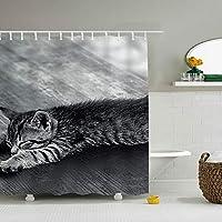 シャワーカーテン 165*180cm 子猫眠り疲れうそ バスルーム 防水カーテン 折りたたみ式 目隠し 防水 防カビ 軽量 ポリエステル 抗菌 リング付