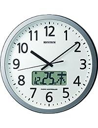 リズム時計 掛け時計 電波 アナログ プログラムカレンダー405SR 【 24回 プログラム チャイム 機能 】 オフィス 銀色 RHYTHM 4FN405SR19