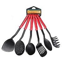 Liangxiang 6Piece実用的ホームキッチン食器セットブラックナイロンクッキングツールセットノンスティック耐熱性耐久性軽量