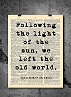 Christopher Columbus - Following The Light Quote - Dictionary Art Print - Vintage Dictionary Print 8x10 inch Home Vintage Art Wall Art for Home Wall For Living Room Bedroom Office Ready-to-Frame [並行輸入品]