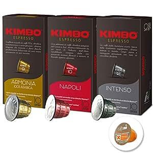 ネスプレッソ マシーン用 キンボ コーヒー 互換 カプセル 3種 各1箱 3箱セット エスプレッソの本場、イタリアのナポリからついに登場。洗浄剤(カフェニュ)1コ付き [並行輸入品]