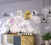 小さな新鮮なスタイルの写真の壁+ラックの組み合わせ、装飾された絵画、純木フレームを掛ける創造的な壁、7額縁+棚+アクリルの鳥の手紙ウォールステッカー (Color : Natural color+white)