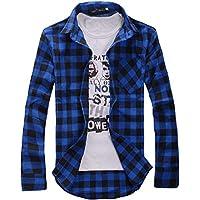[スミドレン] チェック 柄 長袖 シャツ メンズ Yシャツ カジュアル カラー トップス ウェア メンス゛ 男性 男