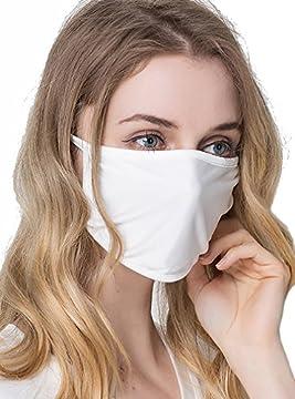 (ケイミ)KEIMI マスク 個包装 100シルク フリーサイズ おやすみマスク Silk 繰り返し使える UVカット 黒 大きめ (ホワイト)