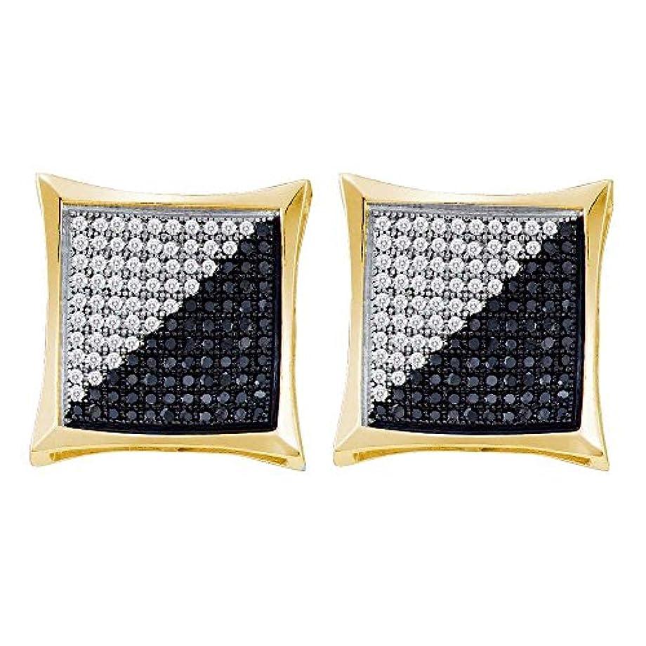 許可ハーフミュージカル10 KTイエローゴールドメンズラウンドブラックカラーEnhancedダイヤモンド正方形Kiteクラスタイヤリング1 / 4 cttw