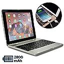 iPad2 iPad3 iPad4 ケース キーボード, COOPER KAI SKEL Bluetooth ワイヤレス キーボード ポータブル ラップトップ Macbook クラムシェル ケース カバー モバイルバッテリー 充電 バッテリー パワーバンク Apple アイパッド 第2世代 第3世代 第4世代 (シルバー)