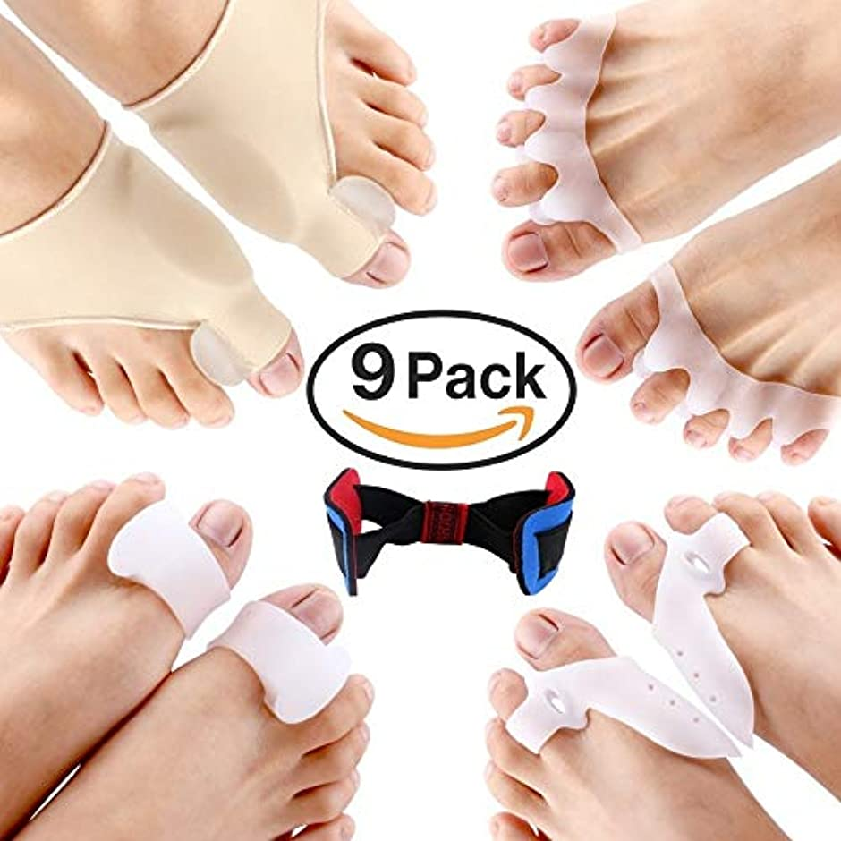 コード観客不要1Combo (9Pcs) Toe Bunion Aid Hallux Valgus Corrector Sleeve Big Toe Joint Hammer Toe Orthopedics Toe Separator...