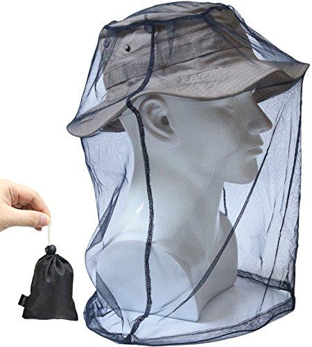 蚊よけ 虫よけ ヘッド ネット 防虫ネット メッシュ カバー モスキート ガード インセクト シールド 携帯 頭部 蚊帳 フェイスガード 収納ポーチ付き (BLACK)