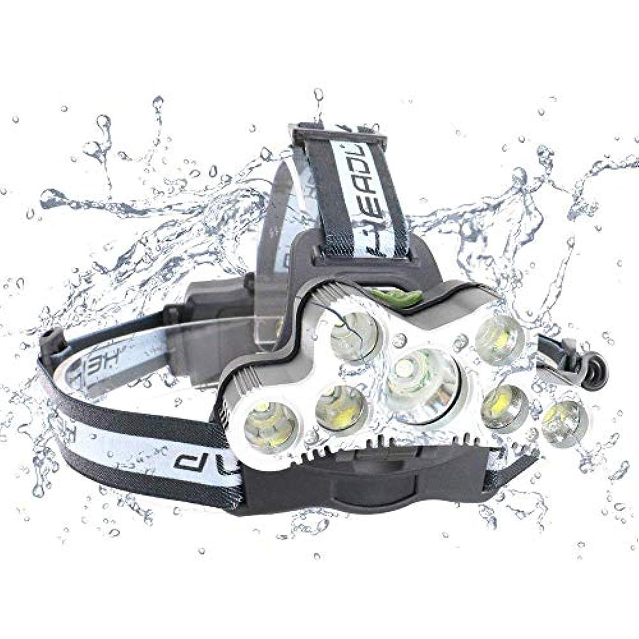 足音蒸発する憎しみMUTANG 屋外モードT6LED強力なヘッドライト6モード、スーパー明るい6000ルーメン充電式7 7ランプヘッドハイパワーマイナーランプクライミングサイクリング釣りハイキングキャンプ