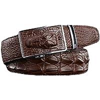 Ayli Men's Genuine Leather Ratchet Belt, Alligator Snakeskin Embossed