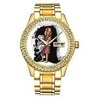ダイヤモンドゴールドメッキウォッチルミナスラグジュアリー防水ユニークなゴールド腕時計 408. 背の高い N カーリー-グッドモーニングキティ!