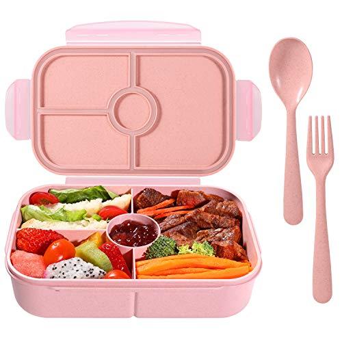 弁当箱 ランチボック 麦わら繊維 大容量 900ml 軽量 漏れ防止 ポータブル スプーン付き (ピンク)